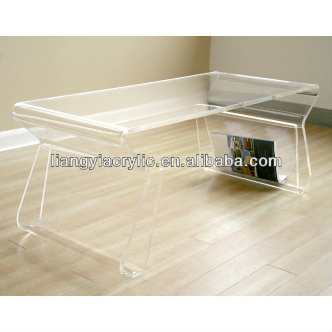 Modern funky clear acrylic ghost style accent coffee cocktail table new