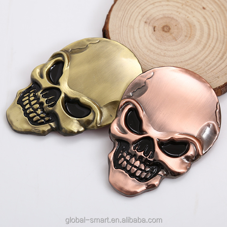Metal Skull design Fashionable Exterior car badges sticker Adhesive wholesale cheap price Car emblems