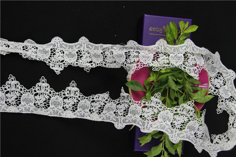 white polyester embroidery lace trim