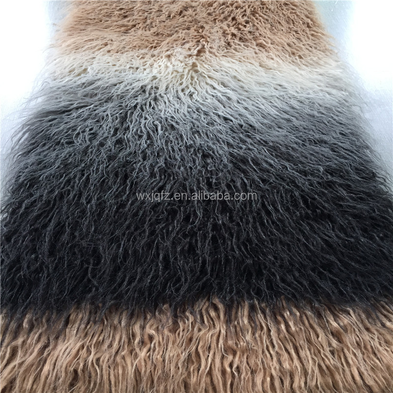 Fashion long pile ombre faux fur fabric for women vest acrylic imitation fur