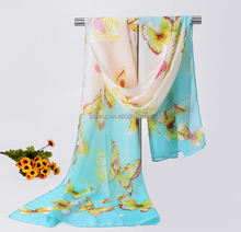 Chiffon fashion women long ombre printed colorful butterfly scarf