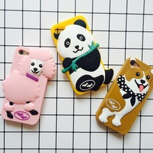 Wholesale 3D Silicone Panda Shockproof Back Cover Phone Case For Iphone 7 7Plus