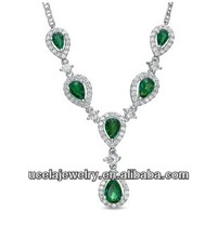 Sterling Silver Pear-Shaped Emerald and White Sapphire Drop Necklace