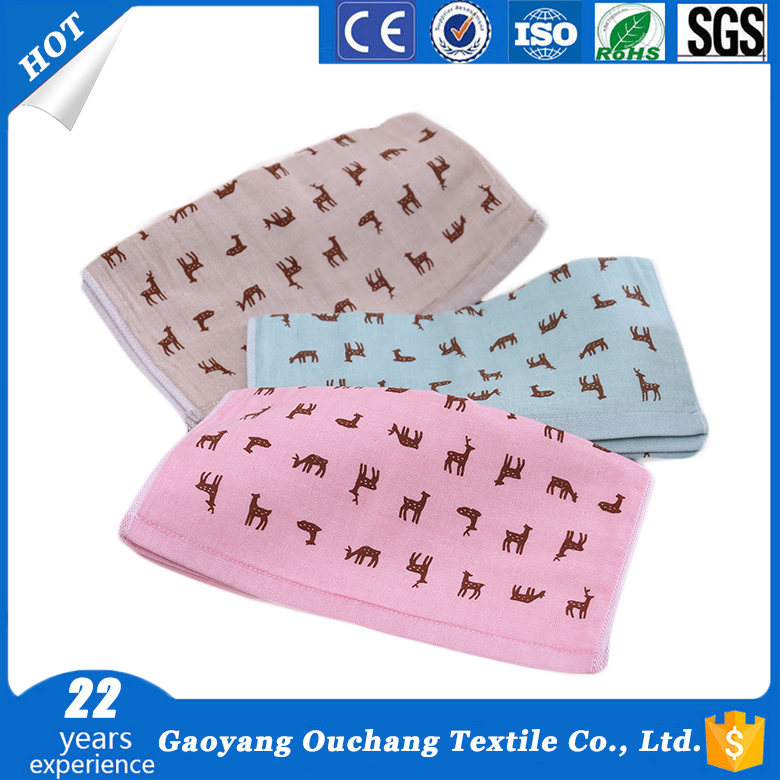 Alibaba china supplier reactive deer printed combed baby 100% cotton hand towel