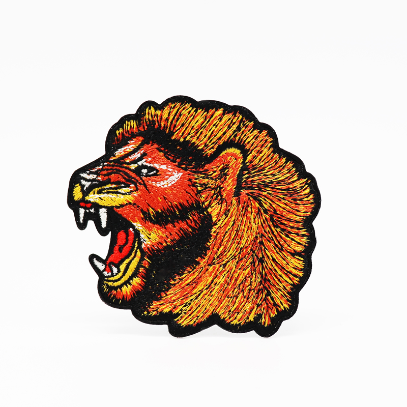 new design custom lion logo embroidered patch for iron on backing