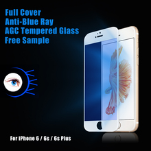 2017 new ! full cover 9H anti blue light phone protective flim tempered glass for iphone 6 / 6s / 6s plus screen protector