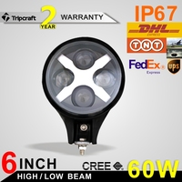 "6"" Round 60W Driving LED Light Black Jeep Drive Light Fit for Jeep Wrangler Off-road new"