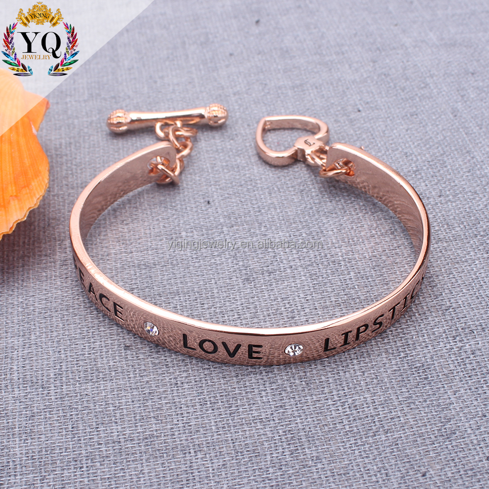 BYQ-00383 fashionable fancy design wholesale simple rose gold plated love letter bracelet