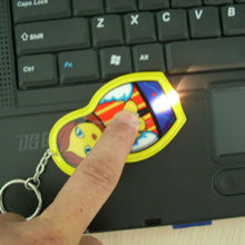 Eco-friendly printed mini cartoon shape plastic led flashlight keychain