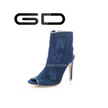 Jean Upper blue color ankle women boots high heel shoes boots