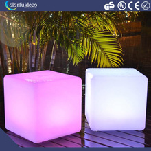 rechargeable 3d outdoor illuminated glowing colorful mini magic 50cm beach rgb led cube table for party, led cube chair For Bar
