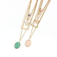 Fashion Gem Stone Necklace Double Layer