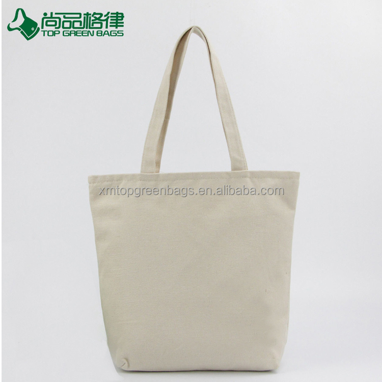 Wholesale cheap blank organic cotton shopping canvas tote bag with zipper closure