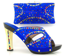 Blue Ladies Sandal Italian Matching Shoe And Bag Sets With Rhinestones High Quality African Women Fashion Shoes For Party