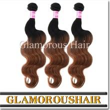 Ombre brazilian hair weavy/ two tone ombre remy hair weaving/ombre bundles 100% remy human hair extension