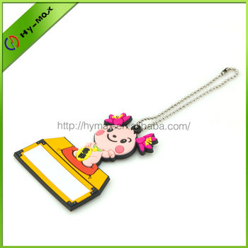 high quality 3D soft PVC cute cartoon girl keychain