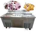 Double Pan With Refrigerator Cabinet Panasonic Compressor Frozen Yogurt Thai Roll Fried Ice Cream Machine
