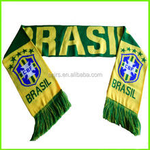 Green and yellow brazil national team soccer scarf hot fans scarf