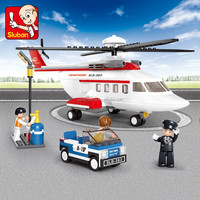 Novelty toy sluban abs plastic building blocks toys aviation airport play set helicopter