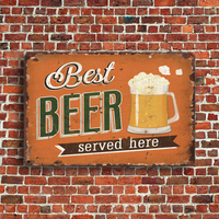 Rustic retro metal wall decor 20x30CM custom logo vintage tin blank plate beer letter metal sign