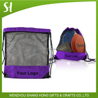 polyester and mesh material drawstring type basketball backpack bag
