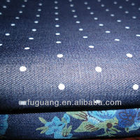 4.5OZ 100% cotton denim fabric woven and printed