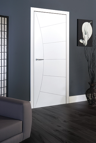 High Quality White Primed Internal Door With Decorative Shaped Grooving