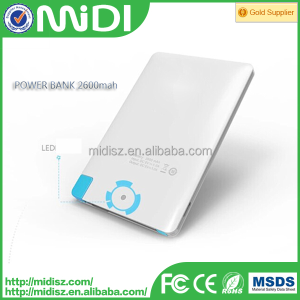 Popular Sample Accepted DC5V 1A Input/output USB 2600MAH Portable Power Bank for Smartphone