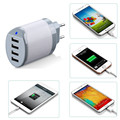 4 Port wall interchangeable plug mobile charger Genuine White AC Adapter Travel Charger with cable for Phone Accessory Charger