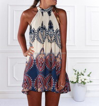 Womens Beach Summer Dresses Sleeveless Boho Tops Chiffon Evening Party Swing