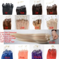 Wholesale Top Grade Pre-Bonded Hair Extension, 18 Inch 1 Kg 100% Unprocessed Virgin Loop Ring Hair Extension