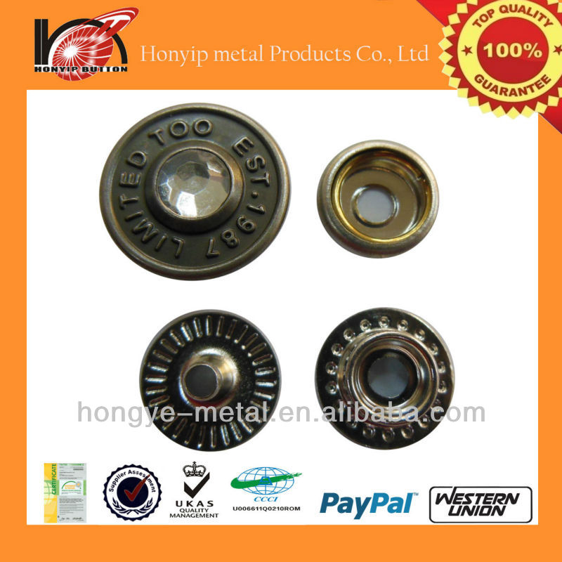lead free stainless novel craft rhinestone snap button for vetement