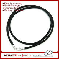 XD MF007 Sterling Silver Lobster Clasp Wholesale Black Cord Necklace Silk Necklace Cord