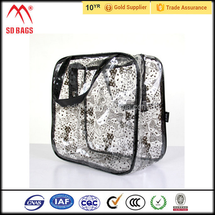 New product clear pvc plastic bag with snap button , transparent pvc cosmetic bag