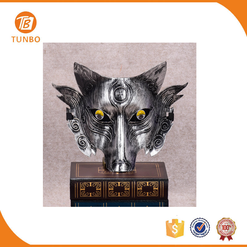 Halloween party silver wolf face funny masquerade mask