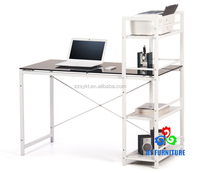 Practical glass office used computer laptop desk with rack wholesale