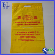 One color one side printed T&L Brand factory direct supply yellow die cutting plastic bag for shopping