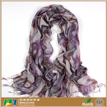Women's yiwu 100% merino wool pashmina purple scarf with fashion long chain and leopard print tassel shawl scarves and wraps