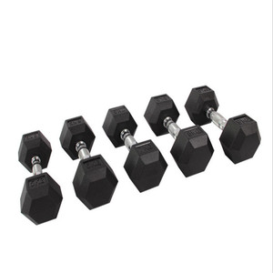 gym rubber coated hex dumbbell