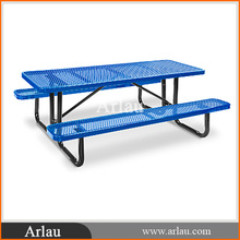 expanded metal mesh table with benches
