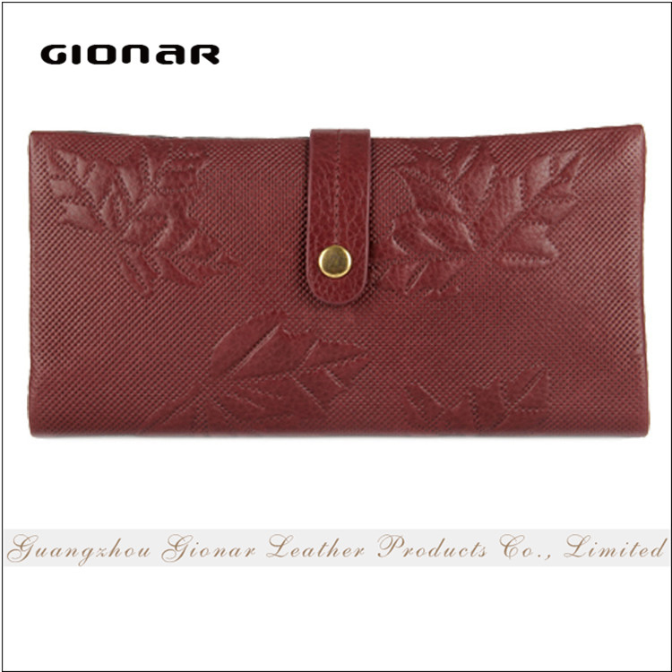 High Quality Promotional Leaf Printed Wallet Genuine Leather Cheap Purse