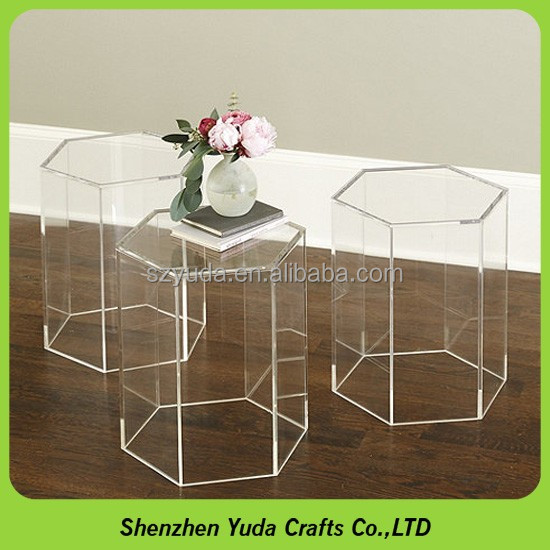 Acrylic decorative hexagon table minimalist plastic clear coffee desk