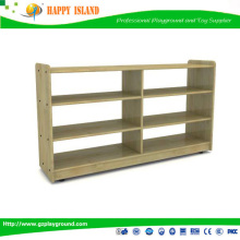 Factory Directly Supply High Quality Log Color Six Grid Partition Cabinet Wood Kid Rack For Perschool