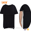 Luoqi Oem 95% Cotton 5% Spandex 180g O Neck Split Black Custom Men T Shirt Men