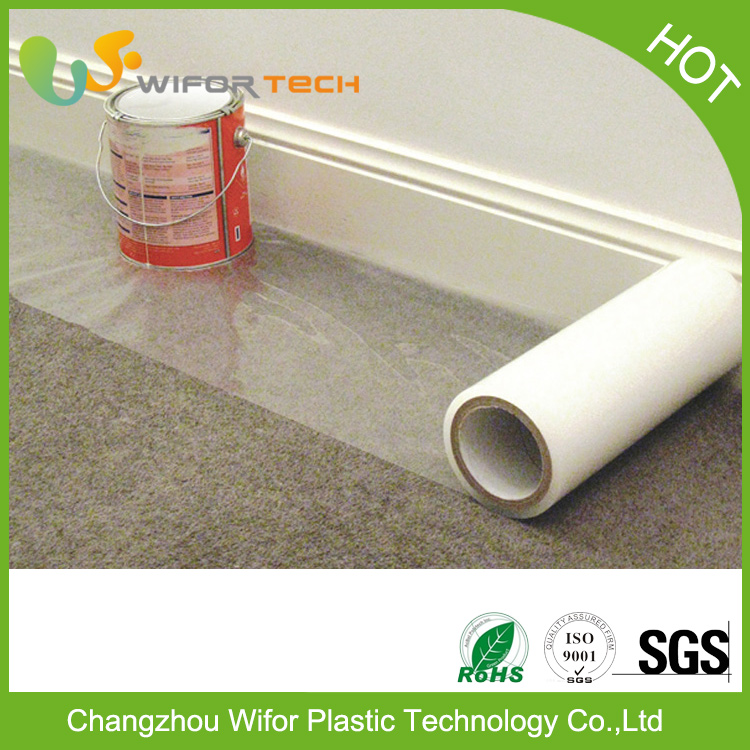 Surface Protection PE Material Temporary Self Adhesive Plastic Floor Mat For Carpet