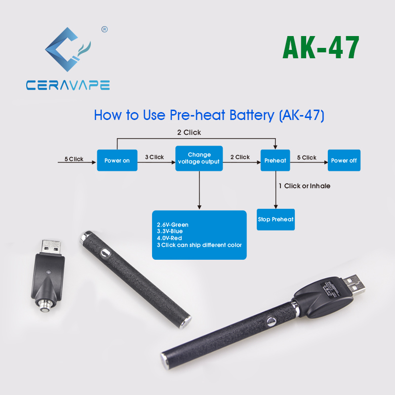 Free sample 510 thread Adjustable preheat 1.0ml 350mAh CeraVape vape battery adjustable voltage