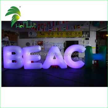 Customizable Led Illumination Inflatable Word Letters , Alphabet Inflatable For Events