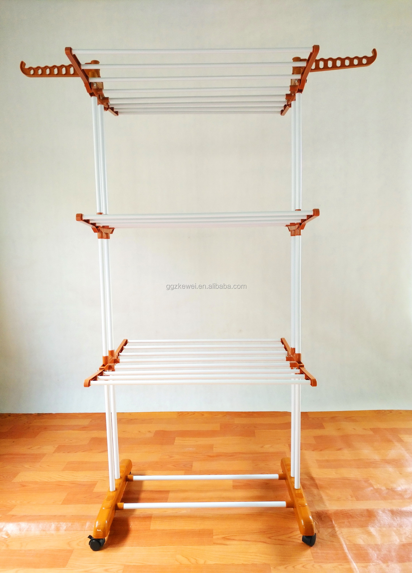 3 Layers Folding Clothes Towel Racks With Wheels , Guangzhou Factory Wholesale , Color Demand For Big Order BS-8031-O