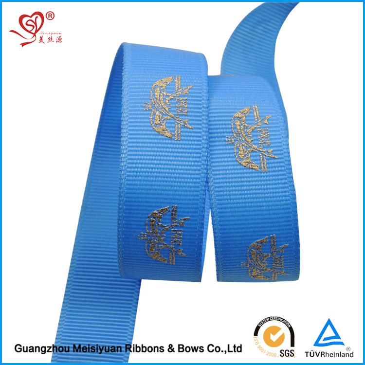 Wholesale 1 inch Gold Foil Printed Grosgrain Ribbon Christmas ribbon