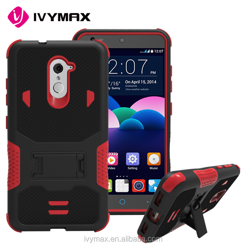 Top seller mobile phone covers armor hybrid case with kicstand full protective combo case for ZTE Z963U/Z988